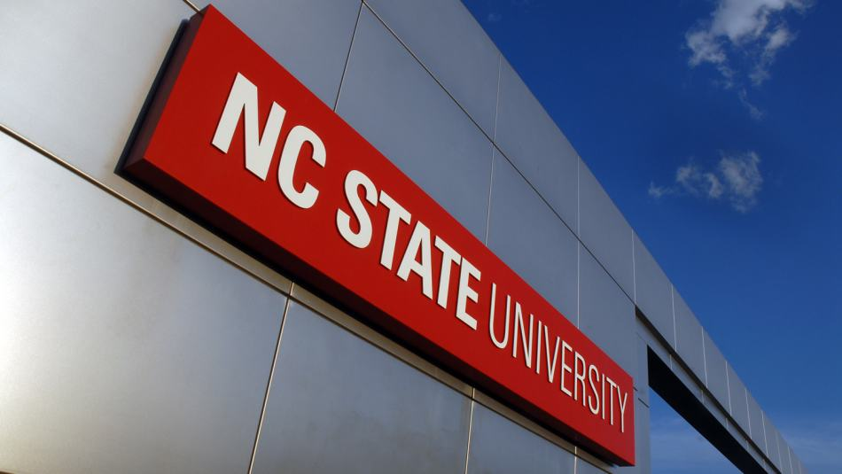 NC State University campus gateway sign
