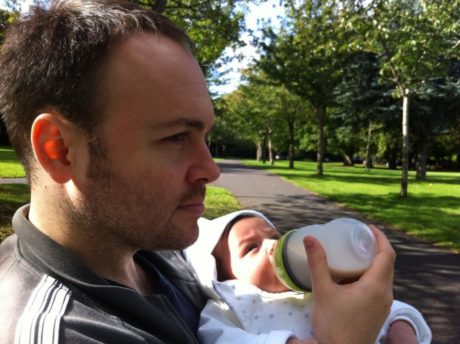 Brian Rodriguez on a rare sunny day in Dublin with son, Matthias